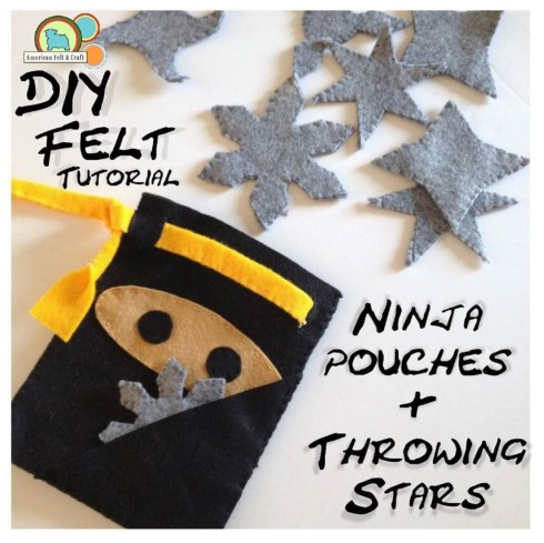 Free DIY Felt Ninja belt pouches and throwing stars craft tutorial