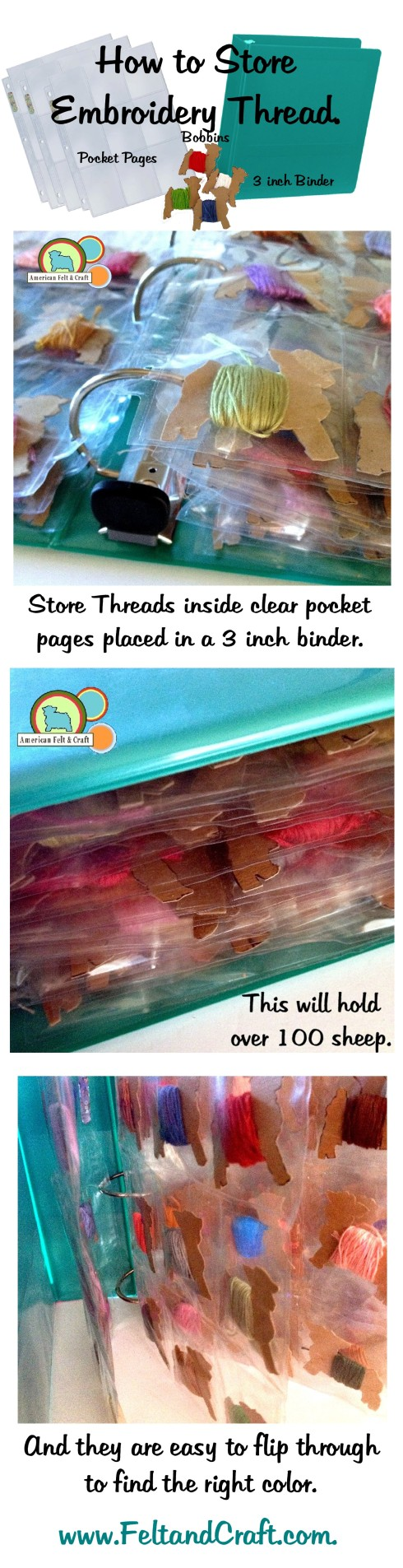 "Store Embroidery thread in 3"" binder and pocket pages. Easy to see and stores on a shelf."