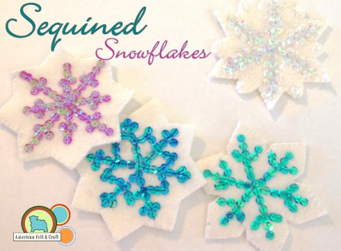 Felt Snowflake sequin ornament pattern