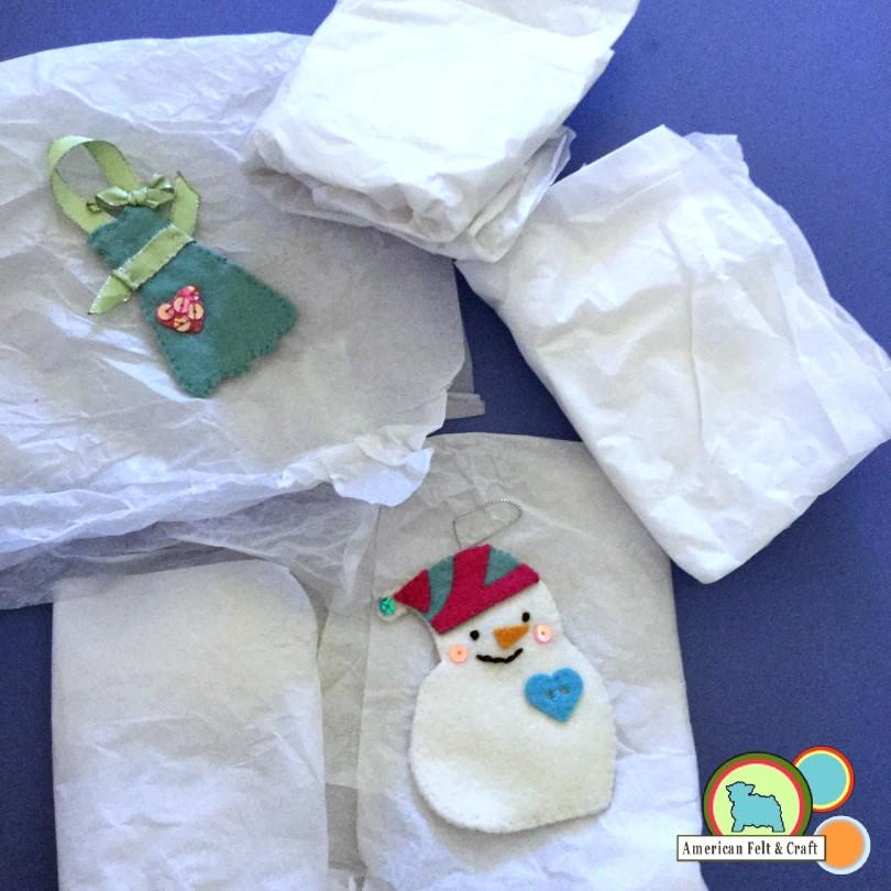Pack felt away in acid free tissue paper