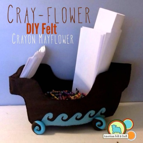 DIY crayon Mayflower Thanksgiving Kids Table Craft. Passing crayons will be more fun than the coloring!