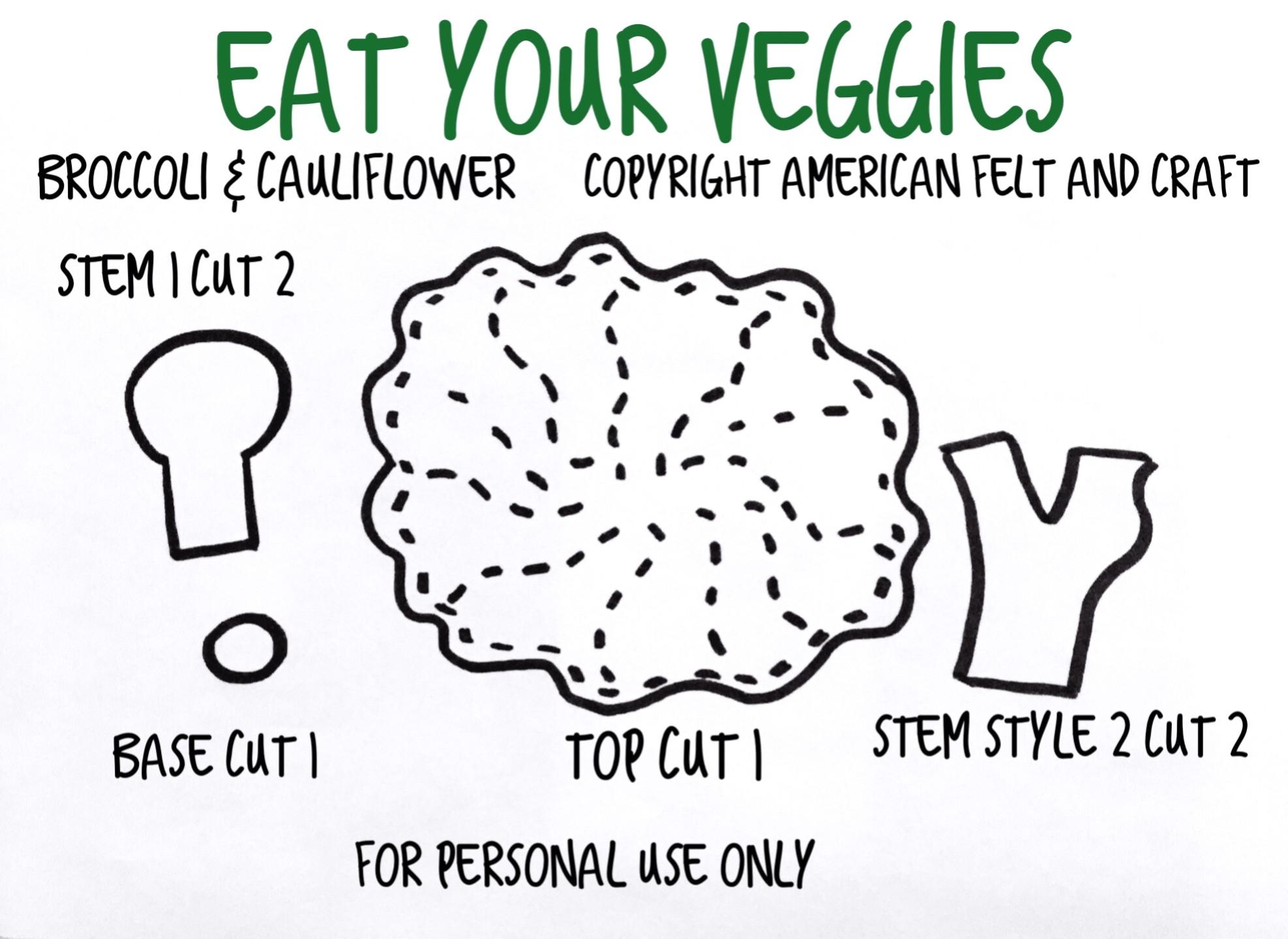 Free Felt Food Pattern - Broccoli and Cauliflower - American Felt and Craft