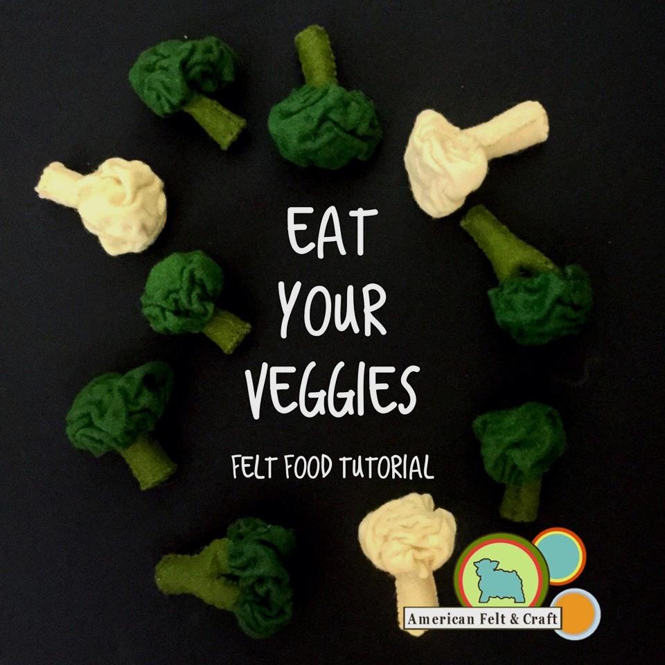 Felt Veggies - Free Felt Food Tutorial Broccoli and Cauiliflower