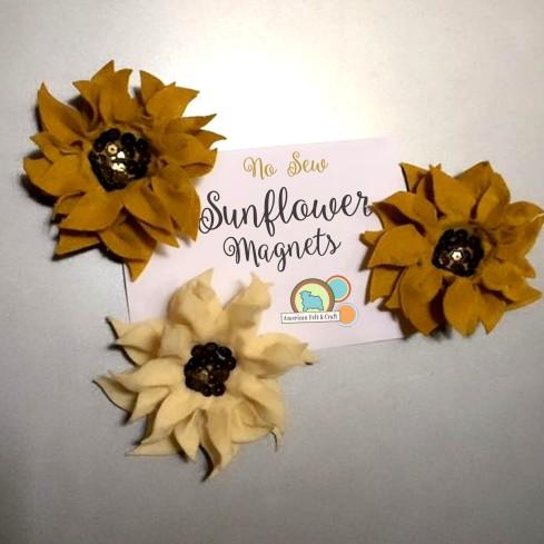 DIY no sew felt sunflower magnets.