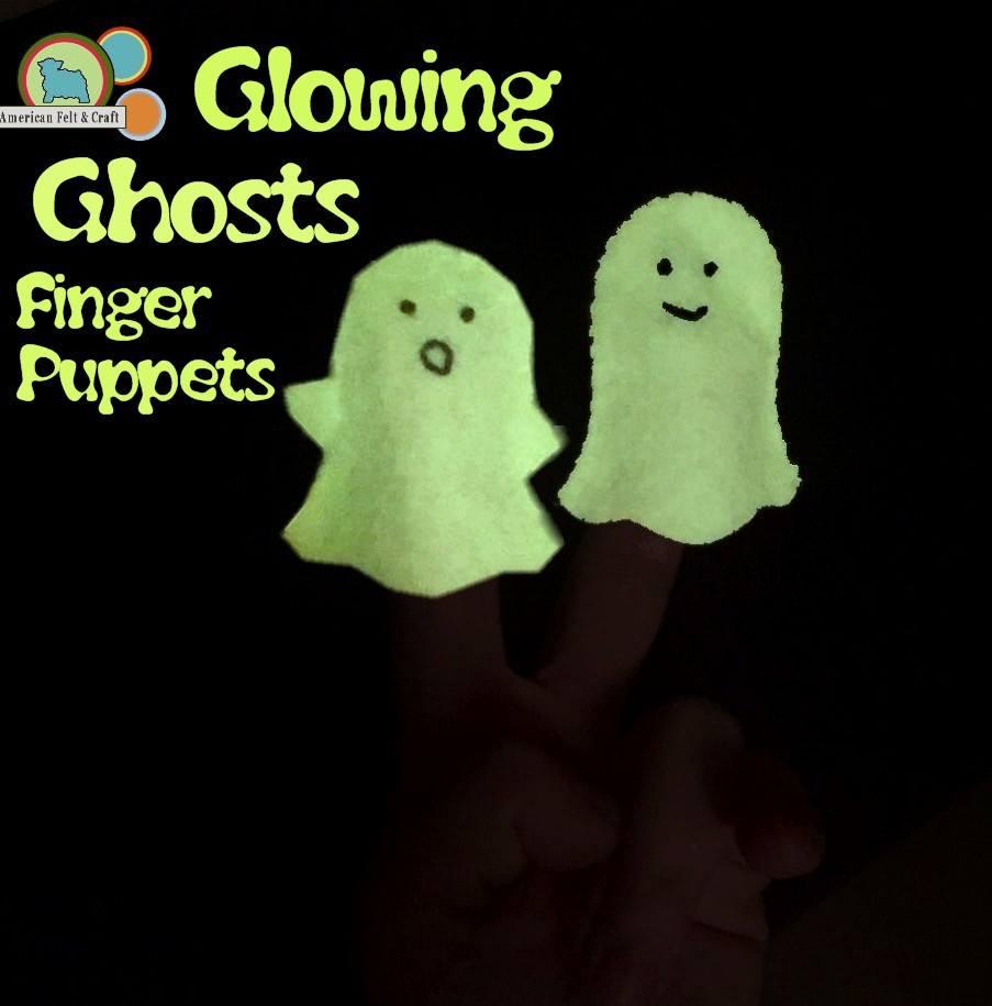 Glowing Ghost felt finger puppets