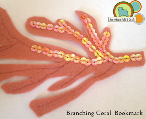 Attach Sequins to felt coral shape.
