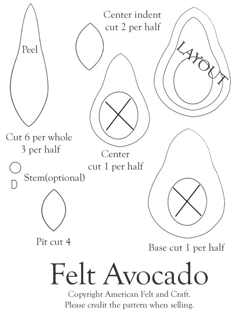Felt Avocado Templates