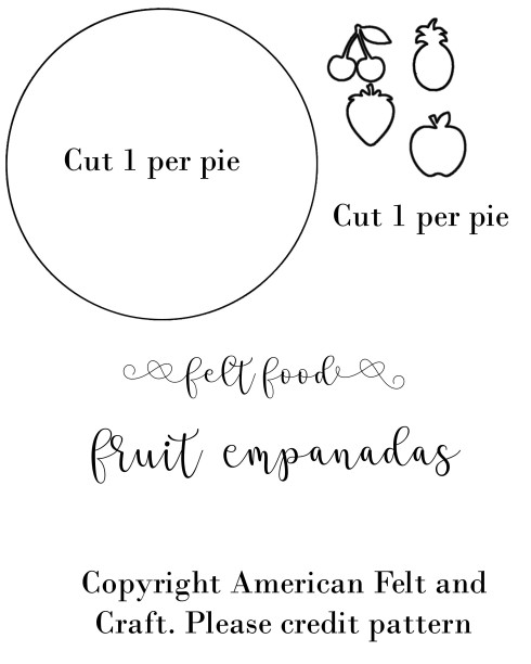 empanada templates, felt food hand pie pattern