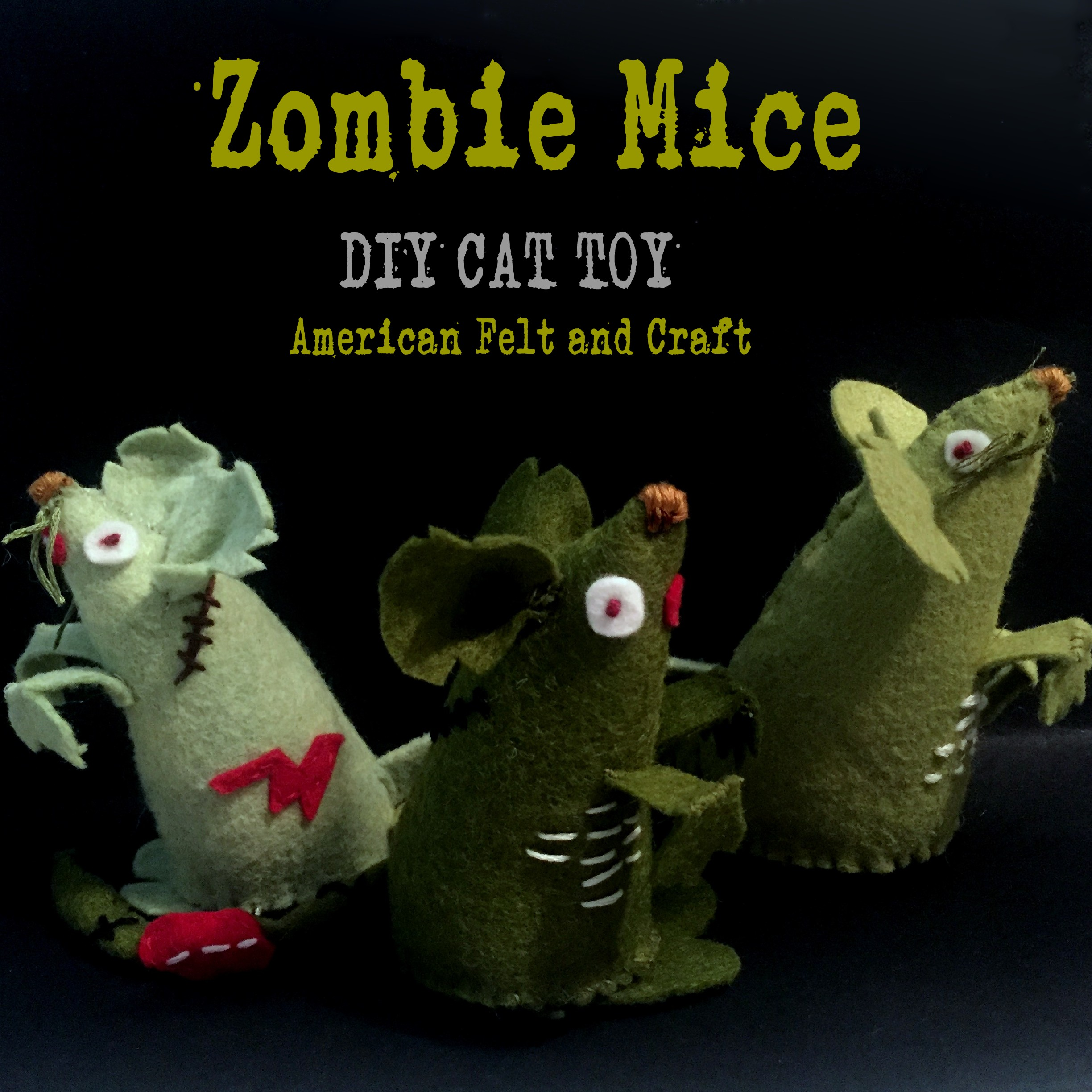 mouse felt mice zombie diy cat craft halloween felting blood dead crafts toys head pattern american army felted choker dripping