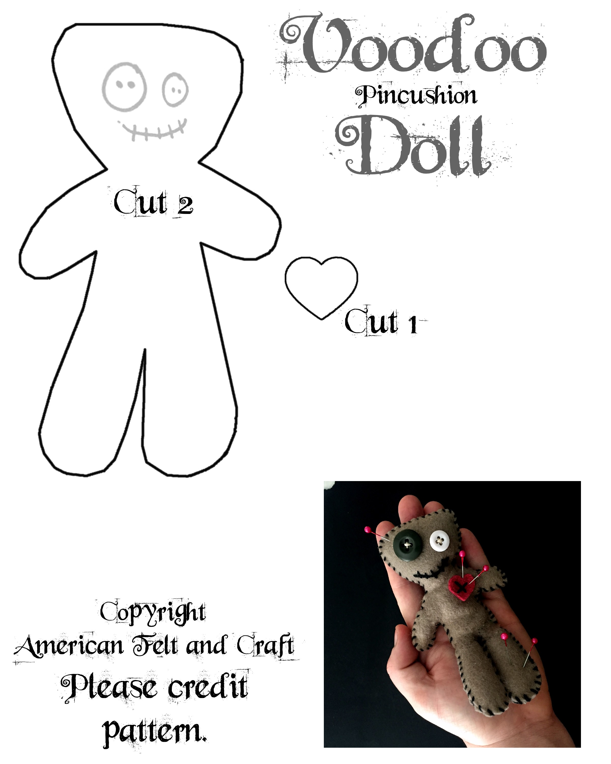 image about Free Printable Felt Doll Patterns referred to as Felt Voodoo Doll Pincushion ~American Felt Craft ~ Blog site