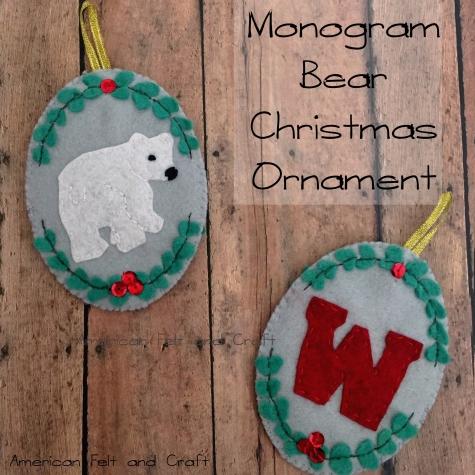 Felt bear Christmas Ornament DIY tutorial