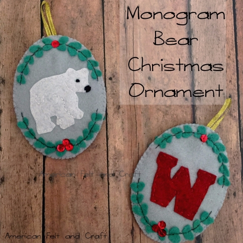 Felt bear Christmas Ornament DIY tutorial