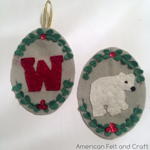 DIY felt polar bear Christmas Ornament