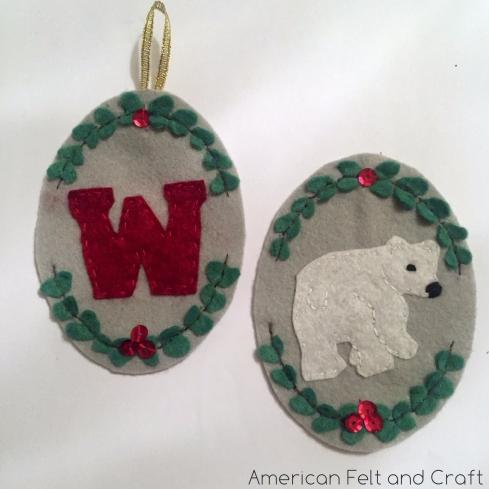 DIY felt polar bear Christmas Ornament