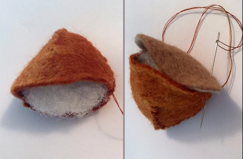 Making felt chestnut Christmas craft
