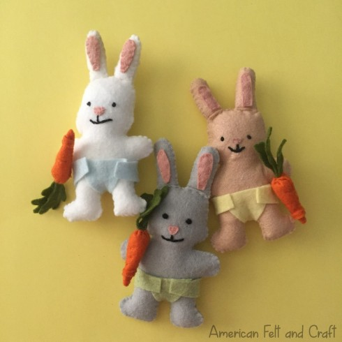 DIY felt bunny pattern baby bunnies