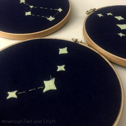 glow in the dark felt constellation hoop