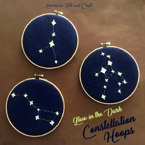 Glow in the dark constellation hoops