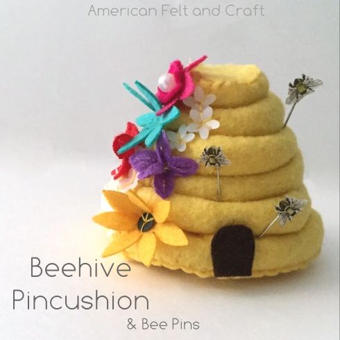 Sewing tutorial: Felt beehive pincushion and honeybee pins