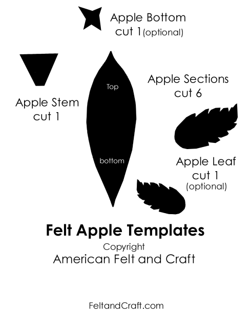 Felt food apple pattern template