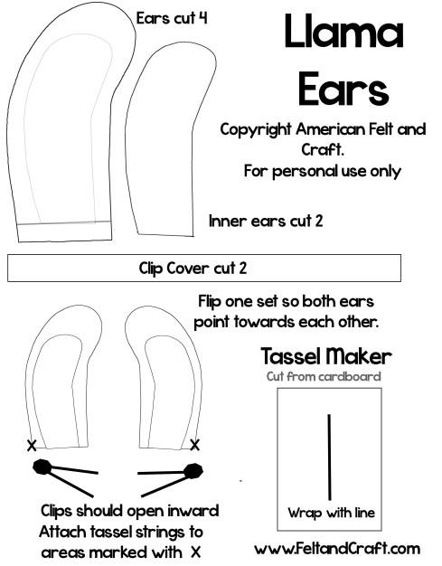 Llama ear template shapes llama pattern