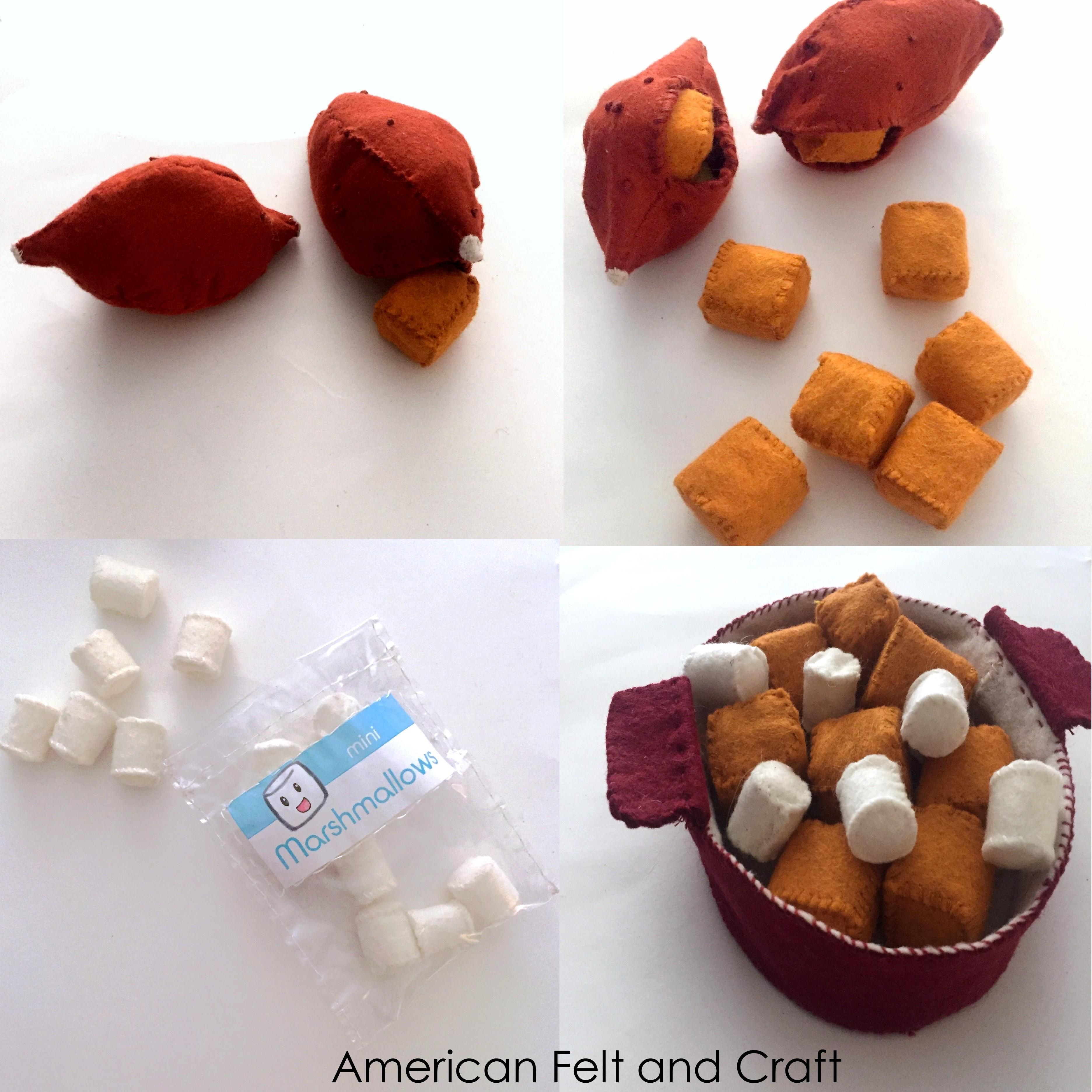 Felt food candied yams sweet potatoes American felt and Craft Mini marshmallows