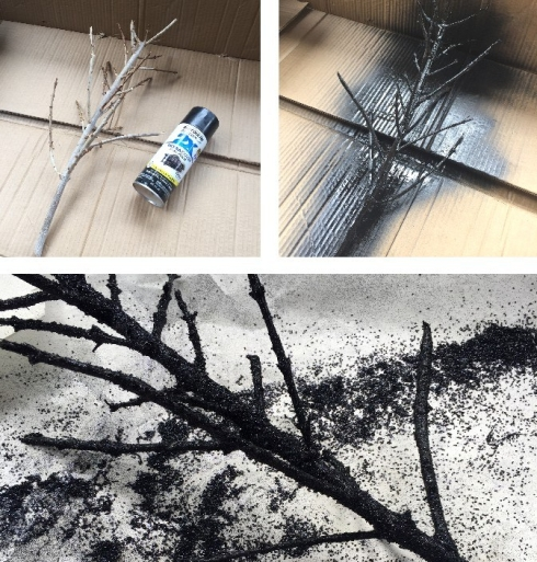 Spray paint a branch