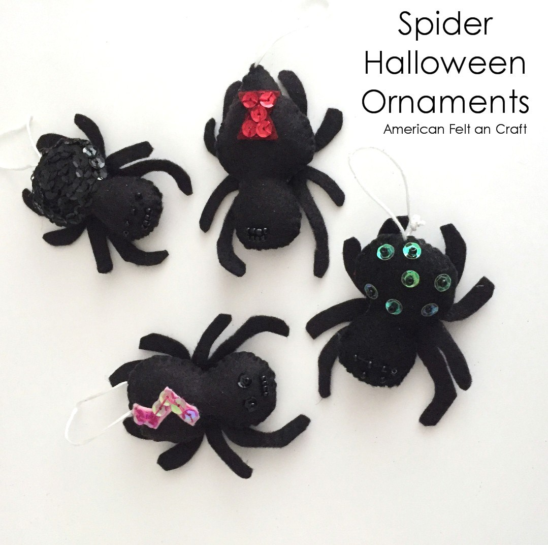 Felt Spiders- Halloween ornament easy