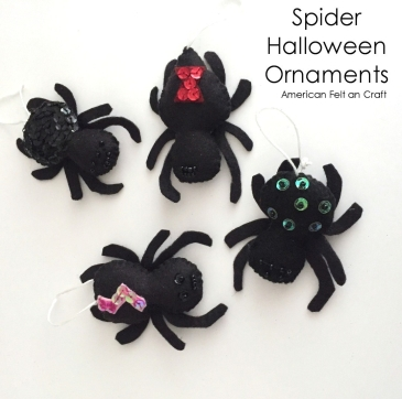 Felt Spiders- Halloween ornament easy