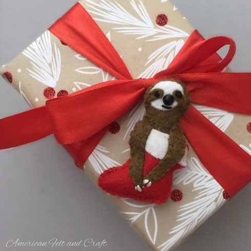 Sloth gift accent felt ornament