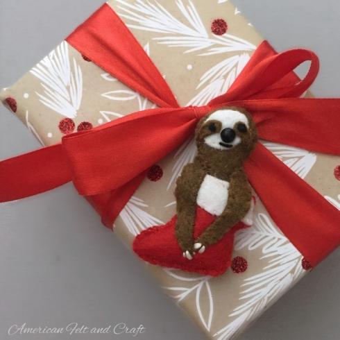 Sloth gift accent felt ornament