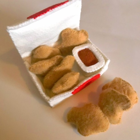 easy felt food patterns - chicken mcnuggets, chicken nuggets
