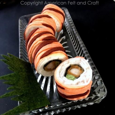 Felt shaggy dog roll - felt food pattern
