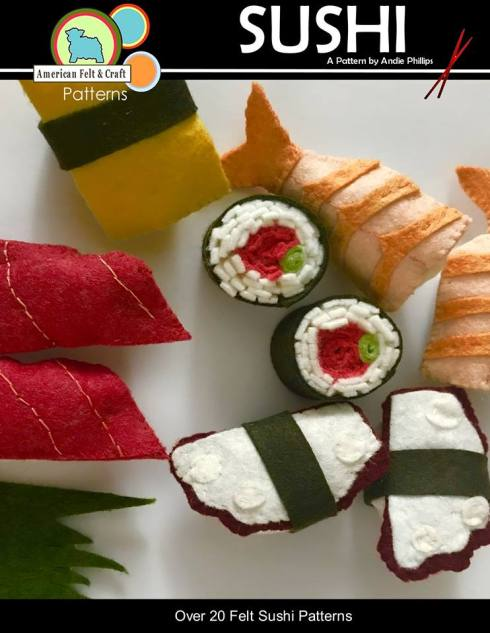 felt sushi pattern and tutorial