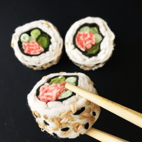 Felt California Roll sushi pattern
