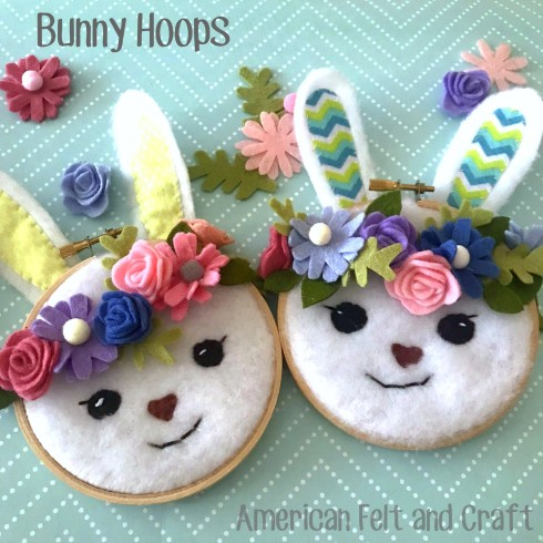 Sweet bunny craft - spring crafts - felt hoops
