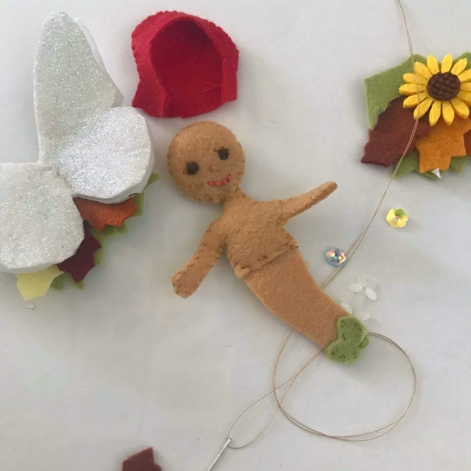 Fall Flower fairy from felt tutorial