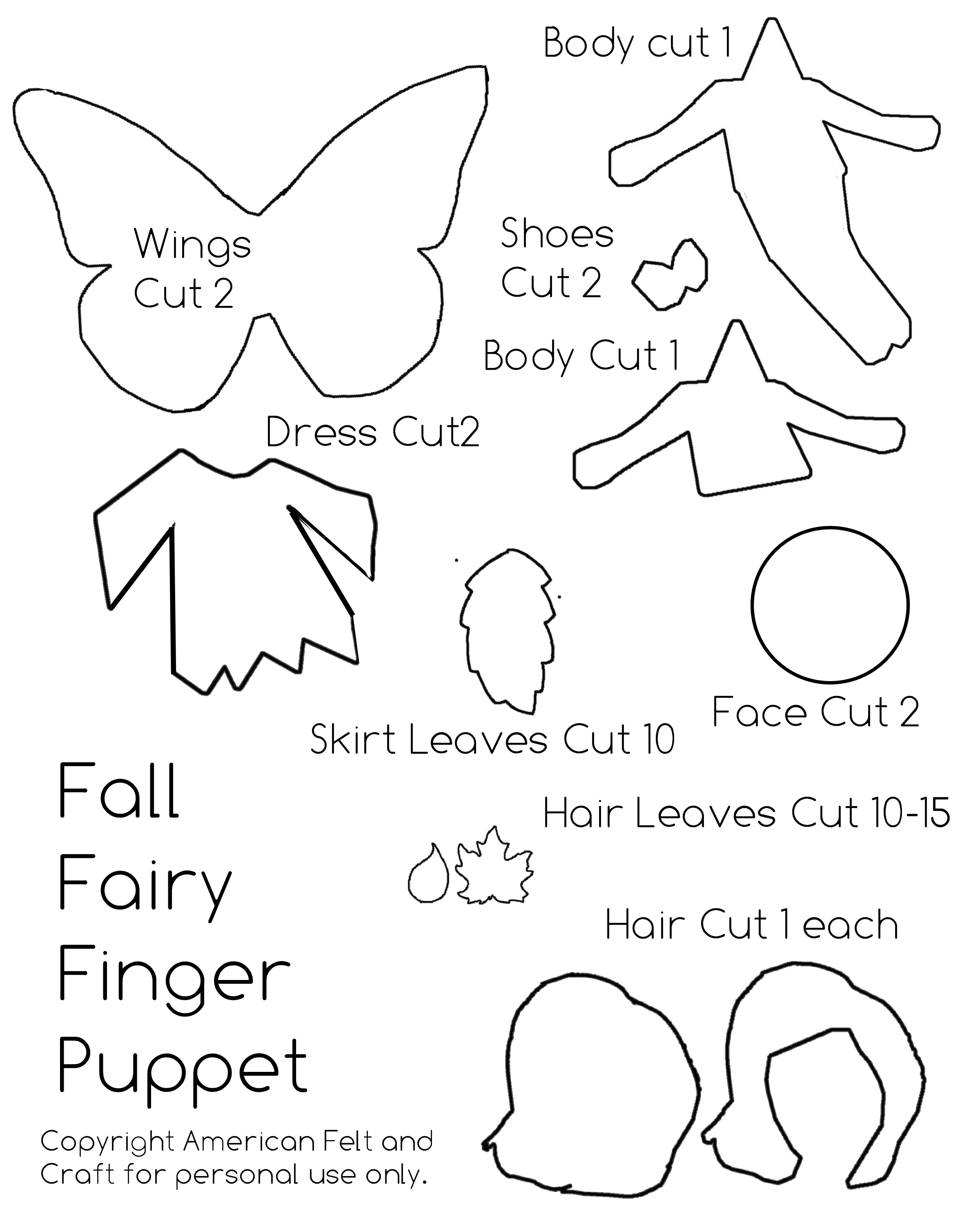 pattern for making fall finger puppet fairy