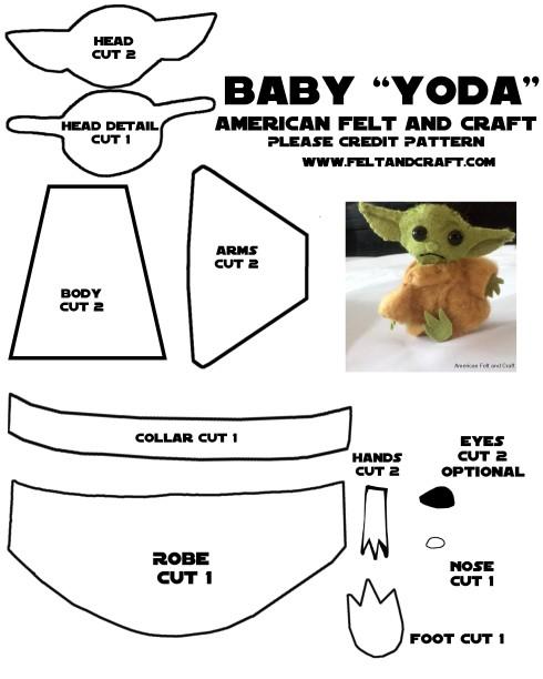 Baby yoda pattern template