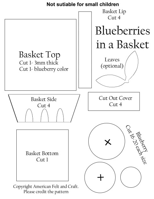 Felt Food Blueberry Basket Pattern