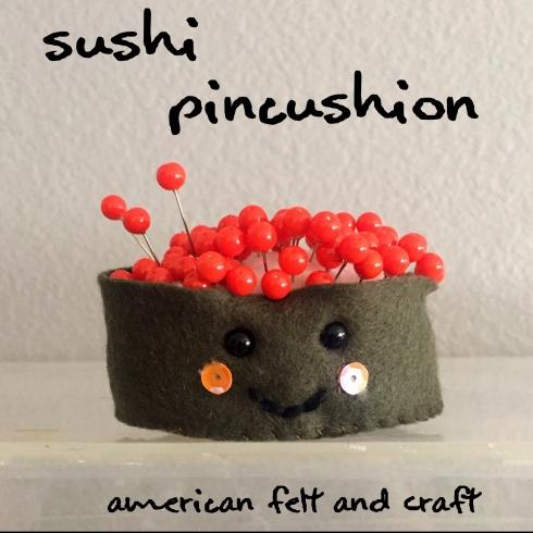 Felt sushi pincushion