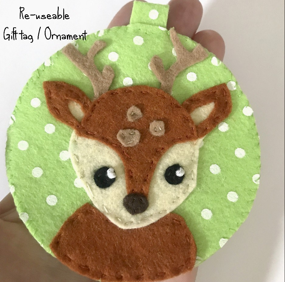 deer felt ornament free pattern and tutorial
