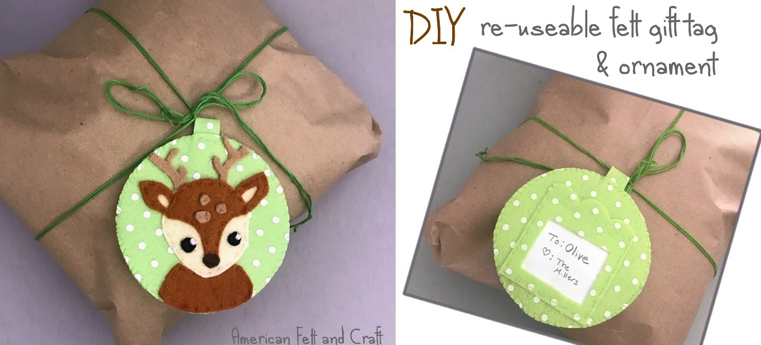 diy reusable felt gift tag Christmas pattern
