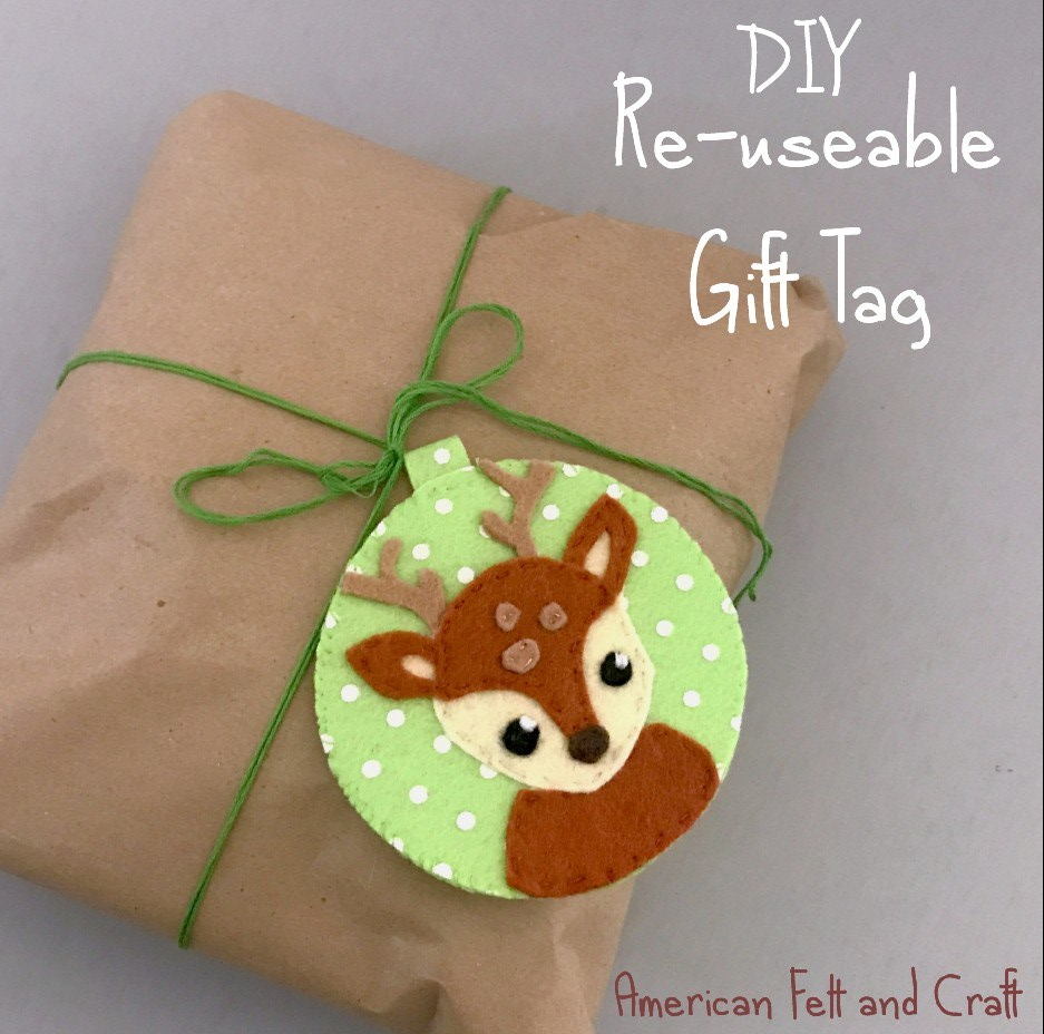 DIY felt gift tag deer