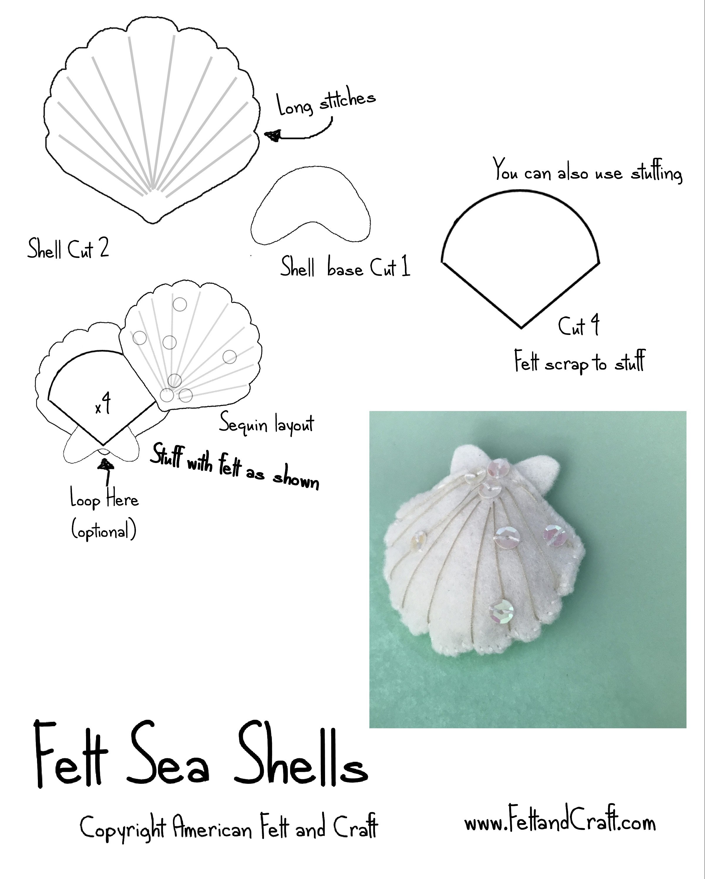 Felt sea shell pattern